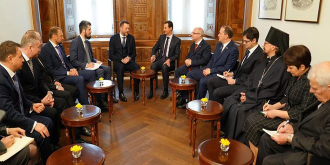 Assad Underlines Importance of Continuing Counter-Terrorism Cooperation to Russian Delegation