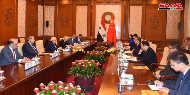 Syria and China Hold Talks on Enhancing Bilateral Relations