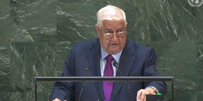 Speech of Syrian FM Walid al-Moalem at the 74th Session of the United Nations General Assembly in New York