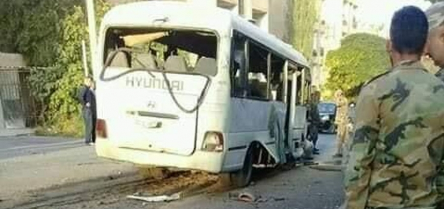 Assad's Forces Military Bus Struck With Explosion in Qudssaya