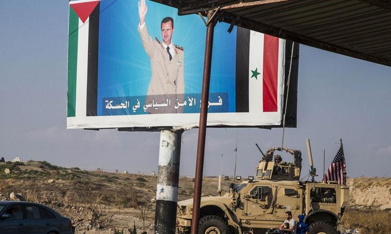 American Armored Vehicles Enter Qamishli Through Syrian Regime Checkpoint