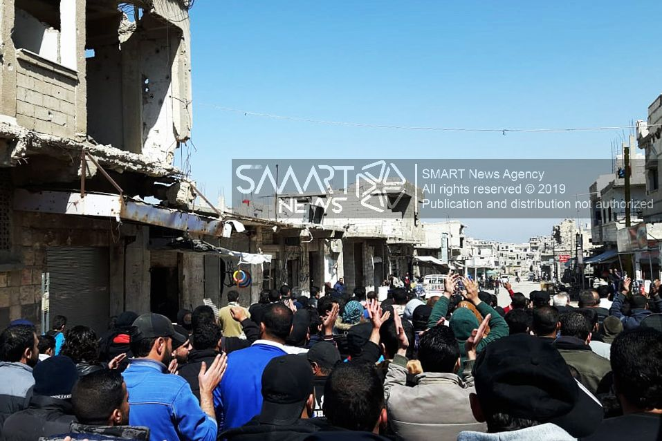 People Demonstrate Against Syrian Government Demanding Release of Detainees in Daraa