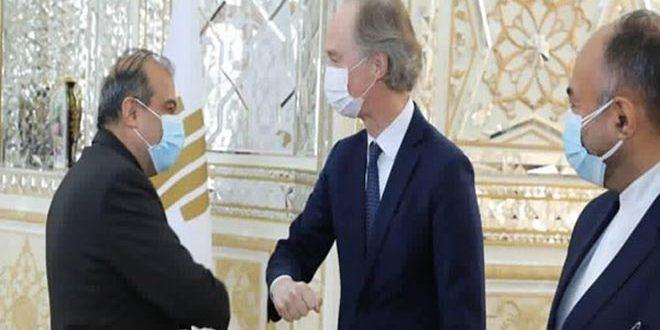 Khaji Reiterates Opposition to Coercive Measures on Syria to Pedersen