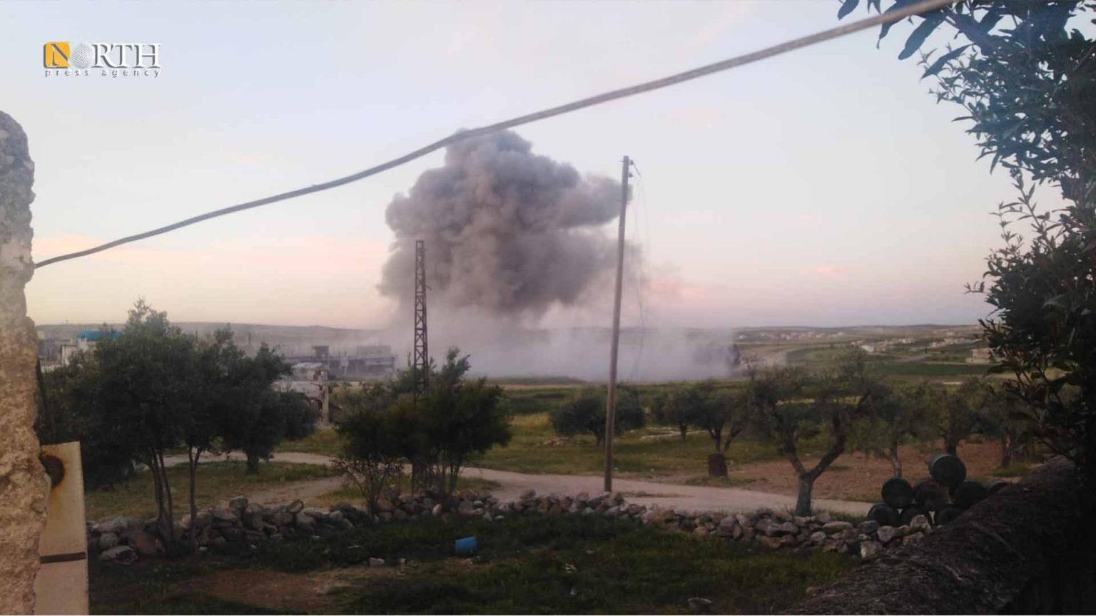 On Monday, Damascus government forces bombed Turkish-backed Syrian armed opposition factions around Idleb and Lattakia, resulting in material damages, according to North Press.