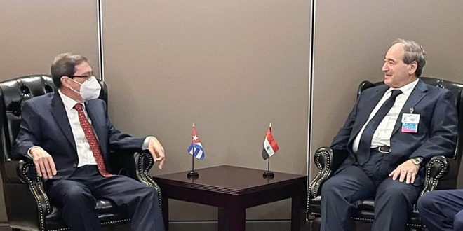 Mekdad Discusses Cooperation with Cuban, Kazakh Counterparts
