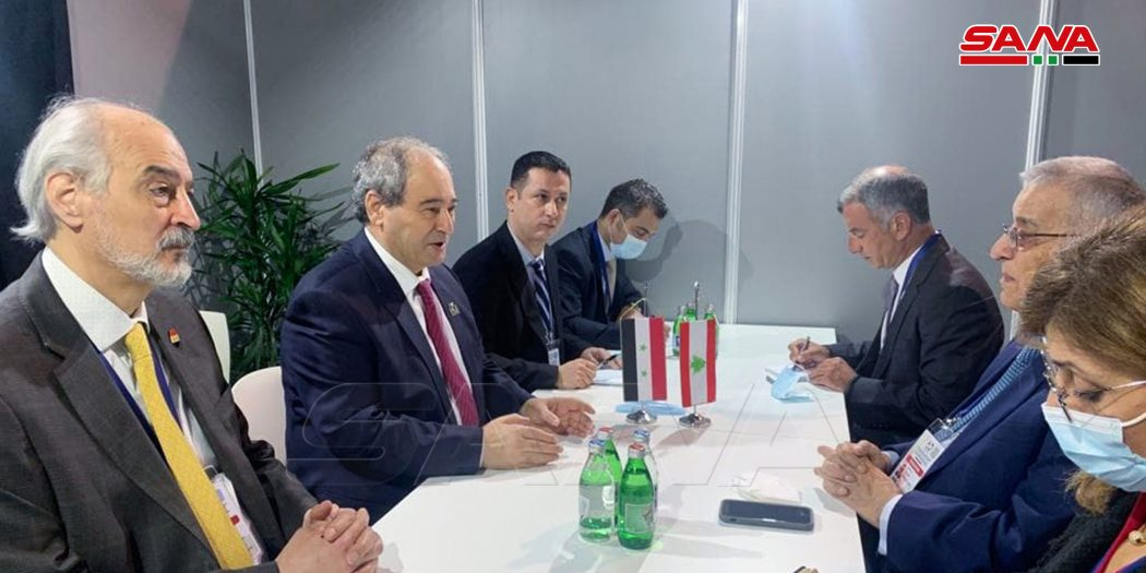 Mekdad Meets Lebanese Counterpart and Iranian Deputy Foreign Minister